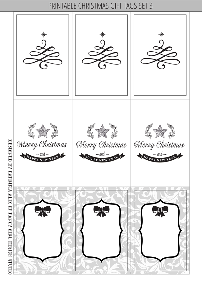 picture regarding Printable Christmas Tags Black and White named Printable Xmas Reward Tags Established 3 Extravagant Lady Patterns